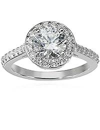 Platinum-Plated Sterling Silver Round-Cut Swarovski Zirconia Halo Ring (1.5 cttw)