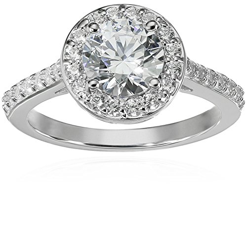 - Platinum-Plated Sterling Silver Round-Cut Halo Ring made with Swarovski Zirconia, Size 6