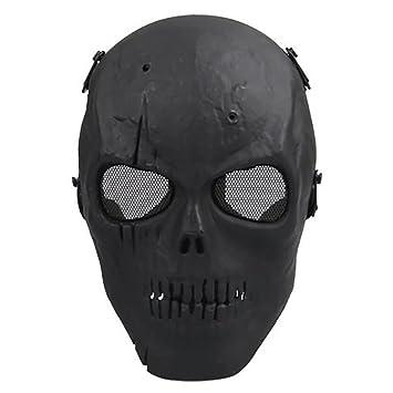 Máscara de Airsoft cara del cráneo cráneo de la máscara militar (Negro)