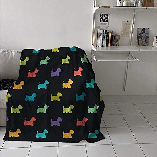 - maisi Dog Lover Digital Printing Blanket Colorful Dog Silhouettes West Highland Terriers Canine Cartoon Style Animal Fun Summer Quilt Comforter 62x60 Inch Multicolor