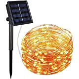AMIR Solar Powered String Lights 8 Lighting Modes, 100 LEDs Solar Starry String Lights, Indoor/Outdoor Copper Wire Lights, Waterproof Decoration Lights for Patio, Gardens, Parties (Warm White)