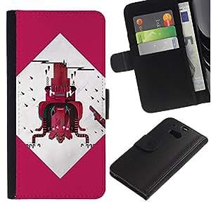 ARTCO Cases - HTC One M8 - Surreal Abstract Futuristic Cute Monster Collage Art - Cuero PU Delgado caso Billetera cubierta Shell Armor Funda Case Cover Wallet Credit Card