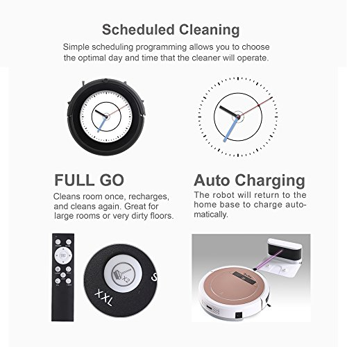 iTouchless High-Power, Self-Charging Robotic Vacuum Cleaner with UV-C Sterilizer and HEPA Air Filter for Pet Fur and Allergens, Wet Mop for Hard-Surface Floors, Extra-large Bin Capacity, Rose Gold by iTouchless (Image #7)