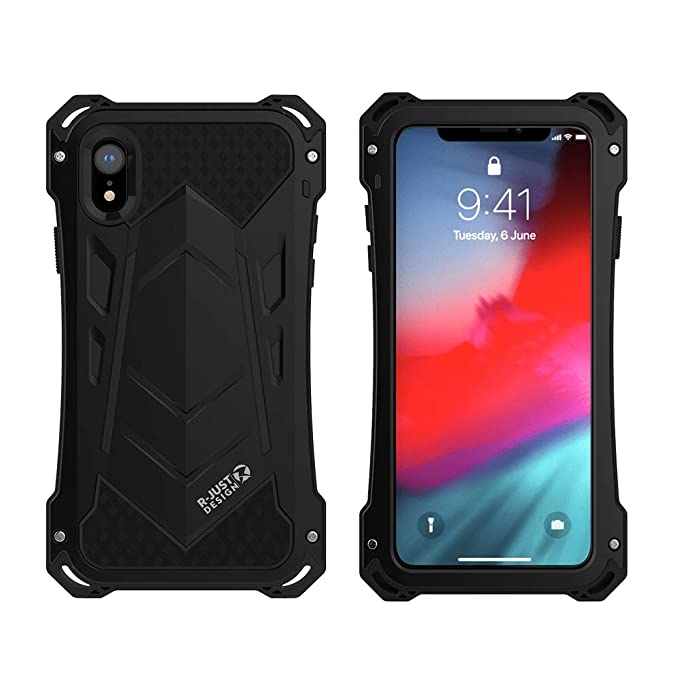 purchase cheap 171c1 ea7e8 iPhone XR Case, Armor Aluminum Metal Case Cover Extreme Alloy Metal Bumper  Hybrid Soft Rubber Military Heavy Duty Shockproof Outdoor Hard Defender for  ...