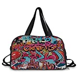 iPrint Travelling bag,Graphic Decor,Hip Hop Street Culture Harlem New York Wall Graffiti Spray Artwork Image,Multicolor ,Personalized