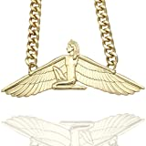 Q&Q Fashion Egyptian Goddess Isis Ankh Wing Chunky Curb Chain Wicca Pagan Necklace,23""