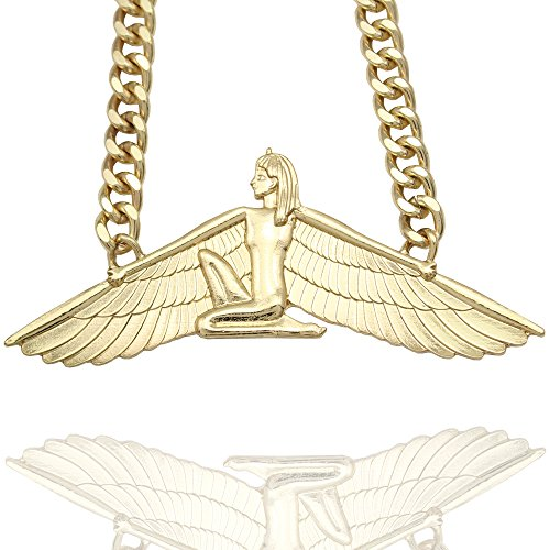 Gold Plated Egyptian Goddess Isis Ankh Wing Chunky Curb Chain Wicca Pagan Necklace (Cleopatra Style Necklace)