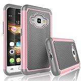 Galaxy Luna Case, Galaxy Amp 2 Case, Express 3 Case, J1 2016 Case, Tekcoo [Tmajor] Shock Absorbing Rubber Plastic Defender Case Cover For Samsung Galaxy Luna / Amp 2 / Express 3/ J1 2016 -Pink
