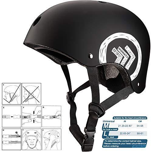 Black, Large MONATA Skateboard Helmet with CPSC Certified for Skate Helmet Youth or Adults Multisport Roller Skating Skateboarding Cycling Scooter Longboarding Rollerblading