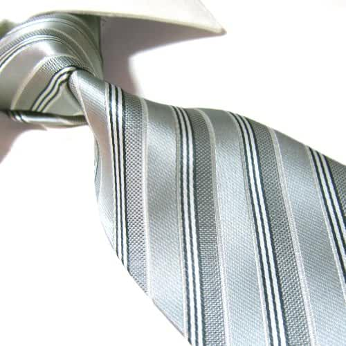 Extra Long Microfibre Tie by Towergem,Silver Stripe Polyester XL Men's Necktie 63