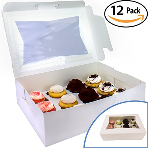 Pro-Quality Bakery Boxes for Cupcakes with Display Window and Cupcake Inserts 12 Pack. Each Recyclable, Bright White Box Displays 1 Dozen Cup Cakes. Ready to Customize for Your Fundraiser or Bake Sale (Display Box Window)