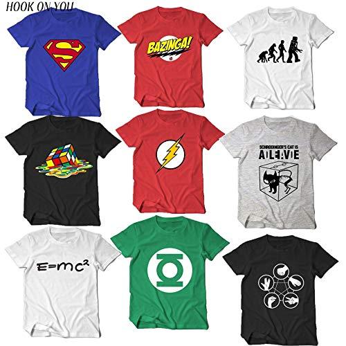 c23036b9ae5 INCLUDS The Big Bang Theory T Shirt Sheldon Cooper Super Hero Green Lantern  The Flash Cosplay t Shirts Men Women Geek tee TBBT: Amazon.in: Clothing &  ...
