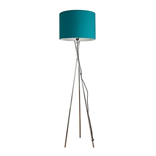 Modern chrome tripod style floor lamp with rolla polycotton modern chrome tripod style floor lamp with rolla polycotton turquoise teal cylinder drum light shade mozeypictures Images