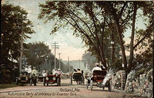 Automobile Party at Entrance to Riverton Park Portland, Maine Original Vintage Postcard ()