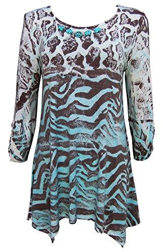 Zebra Print Tunic Top - Nature Art Womens Tunic Leopard Zebra Animal Print Top Peace Brown X-Large