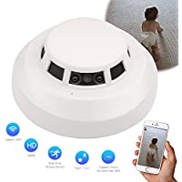 CAMAKT Wi-Fi HD 1080P Night Vision Nanny Camera Smoke Detector pet monitor/caregiver cam Home Security monitor camera with Motion Detection ,Real time Video Remote View by Free APP