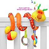 #3: PlayBoom Giraffe Baby Crib Toy with Light & Music | Wraps Around Crib Rails or Stroller | Musical Baby Toys for Babies 3 to 6+ Months | Great Gift for Baby Shower