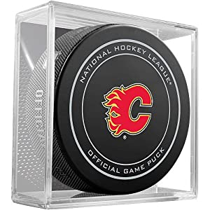 Calgary Flames Sherwood Official NHL Game Puck in Cube