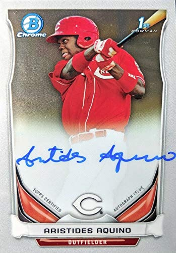 2014 Bowman Chrome Prospects Autograph - Aristides Aquino - TOPPS CERTIFIED AUTOGRAPH ISSUE - 1st Official Bowman Chrome Card - Cincinnati Reds Baseball Rookie Card RC #BCAPAA from Bowman Chrome