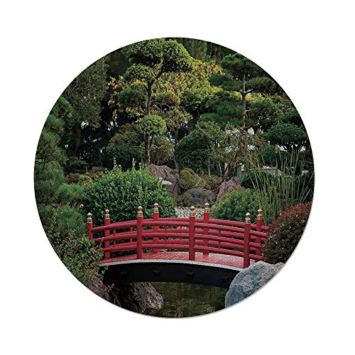 Monte Carlo Balloon - iPrint Cotton Linen Round Tablecloth,Apartment Decor,Tiny bridge Over Pond Japanese Garden Monte Carlo Monaco Along With Trees and Plants Decorative,Dining Room Kitchen Table Cloth Cover