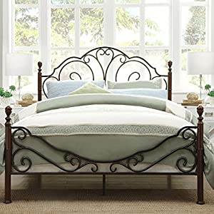 metro shop tribecca home leann graceful scroll bronze iron queen sized bed by tribecca homes - Iron Queen Bed Frame