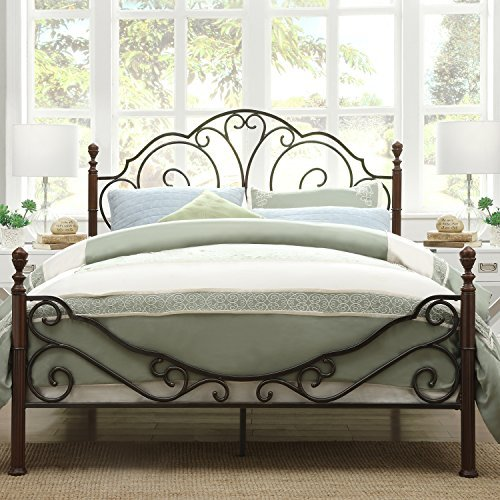 Bronze Queen Size Bed - Metro Shop TRIBECCA HOME LeAnn Graceful Scroll Bronze Iron Queen-sized Bed by Tribecca Homes