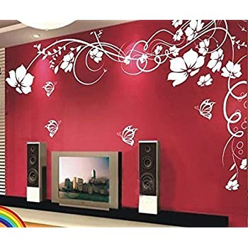 98d3ffcdc4d Amaonms New Style Removable White Vinyl Flowers Flower Vines Butterfly Wall  Sticker Mural Decal Art for Room Tv Background Wall Corner Decorations  (Left)