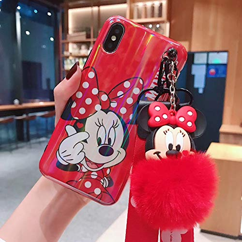 Twinlight Laser Cartoon Mickey Minnie Mouse Stitch Pooh Phone Cases for iPhone 7 8 Plus XS MAX XR X Cute Back Case Lanyard+Fox Ball (Red, for iPhone 7plus 8plus)