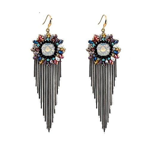 (Bohemian Colorful Tassel Drop Earrings,Black)