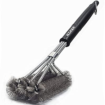 """Clean Grill Brush, 18"""" Best BBQ Grill Brush - Stainless Steel 3-in-1 Grill Cleaner Provides Effortless Cleaning"""