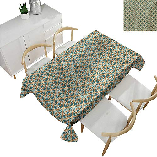 familytaste Flower,Tablecloths,Conceptual Gardening Plants Theme Asian Style Mosaic Chevron Gyron Shaped,Table Cover for Outdoor and Indoor 60