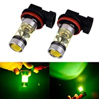Ecosin Fashion 2PC 100W H8 H11 LED High Power Front Fog Lamps Bulbs Yellow Light