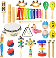 Toddler Musical Instruments Ehome 15 Types 22pcs Wooden Percussion Instruments Toy for Kids Preschool Educatio