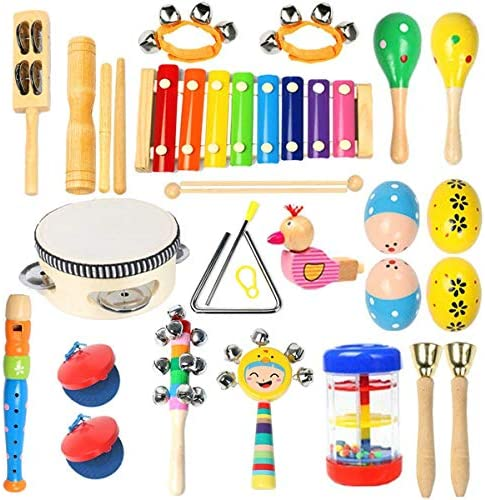 picture of Toddler Musical Instruments Ehome 15 Types 22pcs Wooden Percussion Instruments