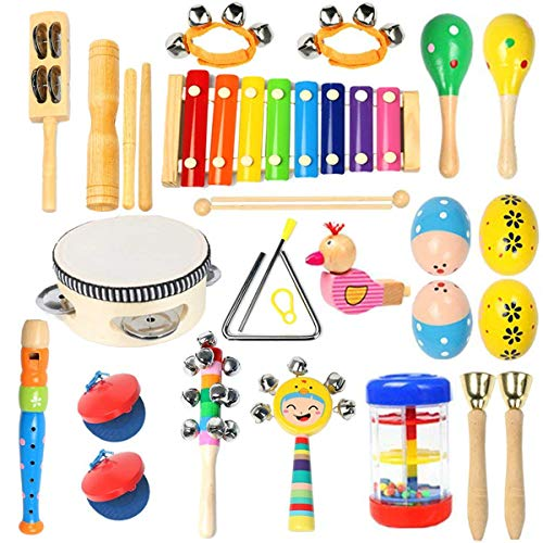 Toddler Musical Instruments Ehome 15 Types 22pcs Wooden Percussion Instruments Toy for Kids Preschool Educational Musical Toys Set for Boys and Girls with Storage Bag