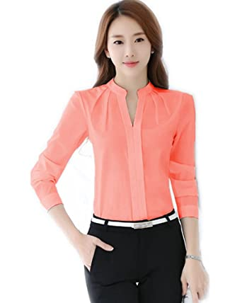 a30cd156343be FANYANG Women's Long Sleeve Casual Shirt V Neck Chiffon Blouse Tops ...