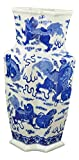 17'' Classic Blue and White Porcelain Lion Dance Angular Jar Vase, China Qing Style, Jingdezhen (D13)
