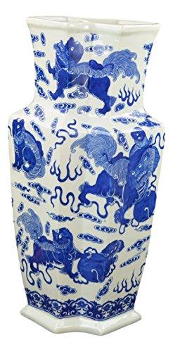 18'' Classic Blue and White Porcelain Lion Dance Angular Jar Vase, China Qing Style, Jingdezhen (D13) by Festcool