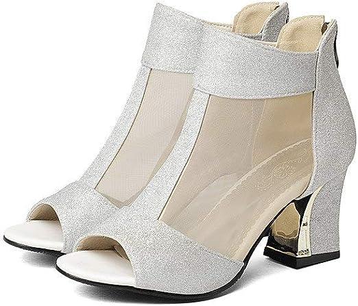JingZhou Zapatos de tacón Cuadrado de Verano con