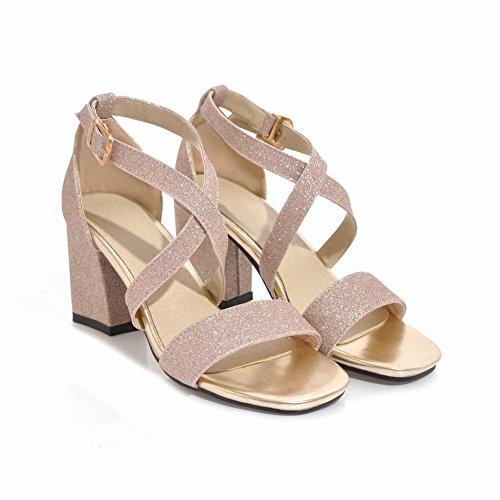 Charm Foot Womens Open Toe Chunky Sandalo Con Tacco Alto Con Fibbia Con Tacco Rosa