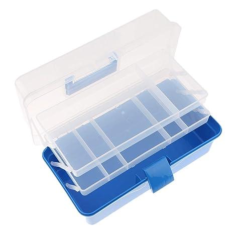 FLAMEER 1x Cajas de Plástico con Multi Ranuras para Guardar Herramientas Joyas Bricolaje - Azul