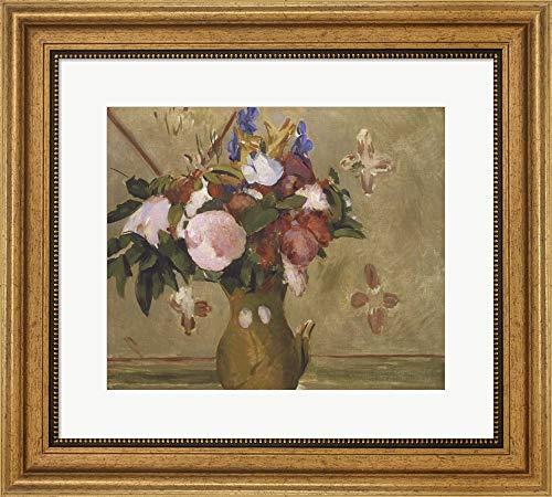 Flowers in a Vase, 1886 by Paul Cezanne Framed Art Print Wall Picture, Wide Gold Frame, 19 x 17 inches