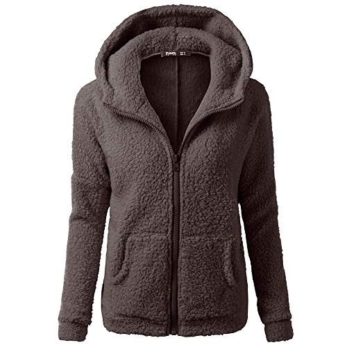 Price comparison product image HGWXX7 Women's Hoodie Solid Winter Warm Plus Size Cotton Zipper Coat Tops Blouse Sweatshirt Outwear(L, Coffee)