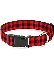 "Buckle-Down PC-W30230-L Dog Collar Plastic Clip Buckle-Buffalo Plaid Black/Red-1"" X 15-26"""