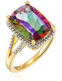 Sterling Silver with Yellow Gold Plating Mystic Fire Topaz and Diamond Cushion Ring, Size 7