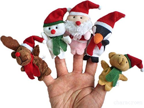 5Pcs Christmas Santa Snowman Story Time Finger Puppets for - Hand Plush Ernie Puppet