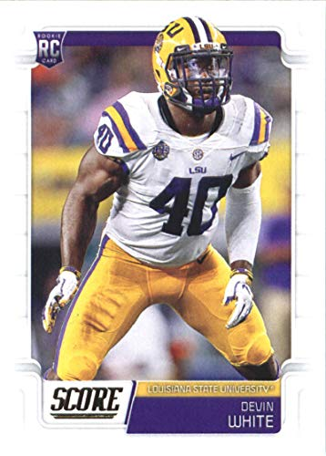 2019 Score Football #369 Devin White LSU Tigers Rookie Official NFL Trading Card From Panini Buccaneers (White Card Football)