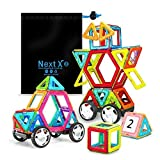 Magnetic Blocks, Stacking Blocks 3D Magnetic Building Sets 46 PCS with Car Wheel, NextX Educational Toys for Boys and Girls
