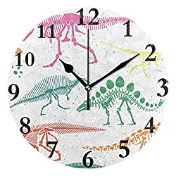 Dozili Dinosaur Skeleton Colorful Round Wall Clock Arabic Numerals Design Non Ticking Wall Clock Large for Bedrooms,Living Room,Bathroom