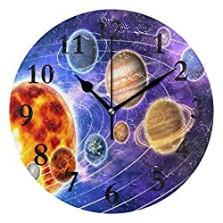 FunnyCustom Round Wall Clock Planets and Orbits Acrylic Creative Decorative for Living Room/Kitchen/Bedroom/Family